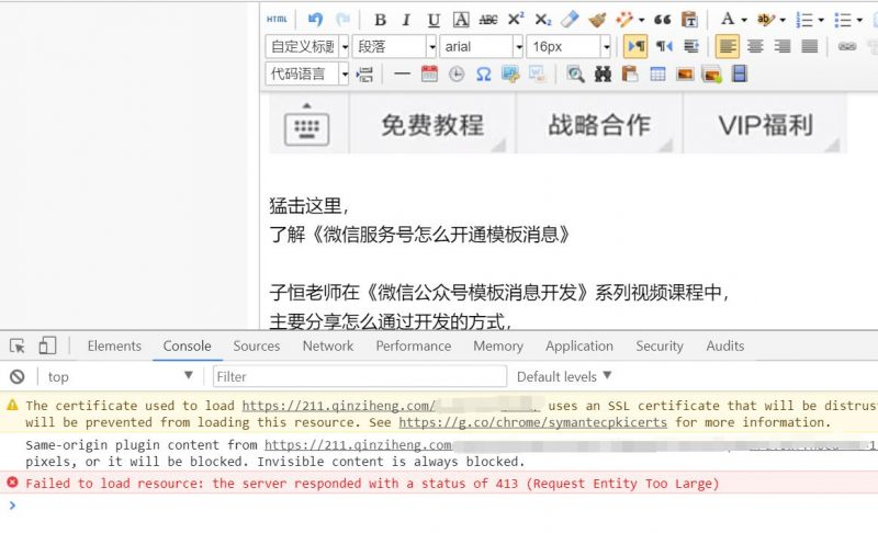 nginx网站出现错误 the server responded with a status of 413 (Request Entity Too Large)