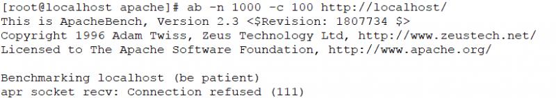 ab测试无法在nginx中使用,出现apr_socket_recv: Connection refused 错误