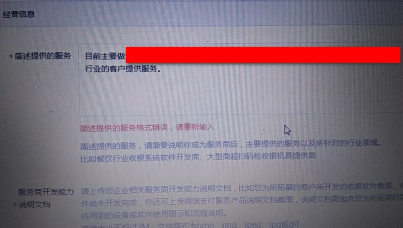 微信服务商简述提供的服务格式错误,申请支付服务商出现简述提供的服务格式错误怎么办