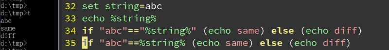 cmd if比较字符串,window bat使用if比较字符串变量不能省略双引号