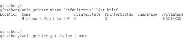 wmic printer获取默认打印机,在cmd用wmic printer管理打印机,wmic printer用法入门实践教程
