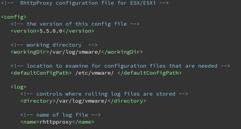 esxi rhttpproxy Config Xml